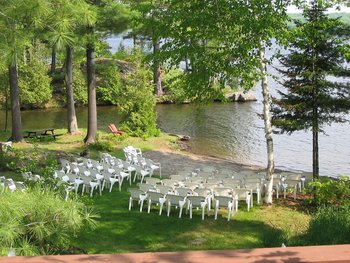 Wedding ceremony set up at Westwind Inn on the Lake.