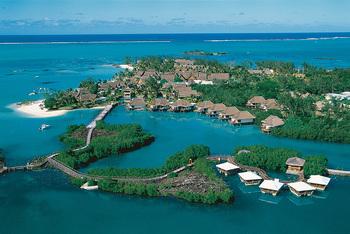 Aerial view of Belle Mare Plage Golf Hotel & Resort.
