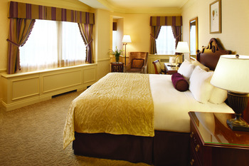 Guest room at Fairmont Le Chateau Frontenac.