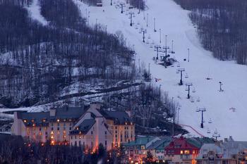 Skiing hill at Fairmont Tremblant Resort.