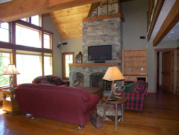 Vacation rental living room at Loon Reservation Service.