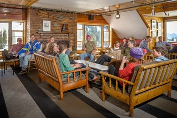 Family in lounge at Alta Lodge.