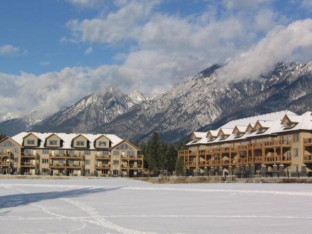 Winter resort view at Bighorn Meadows Resort.