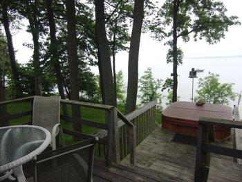 Porch overlooking lake at Acorn Hill Resort.