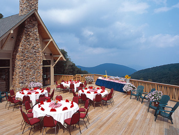 Wedding Banquet Outside On Deck at Wintergreen Resort