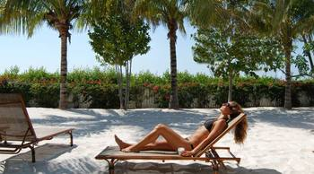 Relaxing in the sun at Parrot Key Resort.