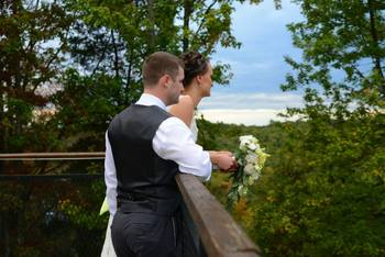 Couple enjoying the view at The Inn at Pocono Manor.