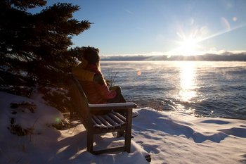 Relaxing by the lake at Bluefin Bay on Lake Superior.