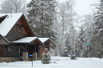 Cabin exterior at Boyd Lodge.