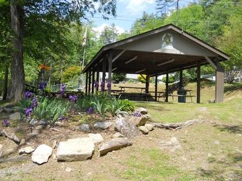 Picnic pavilion at Yogi Bear's Jellystone Resort Cherokee.