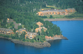 Aerial view of Superior Shores Resort.