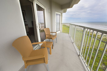 Balcony view at Holiday Inn Club Vacations Galveston Beach Resort.
