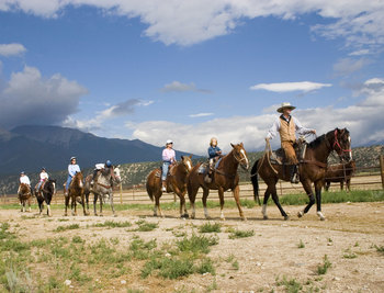 Horseback riding at Mt. Princeton Hot Springs Resort.