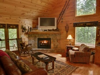 Cabin living room at Georgia Mountain Cabin Rentals.