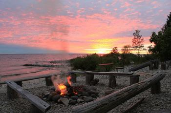 Campfire by the Lake at Gibson's West Harbor Resort
