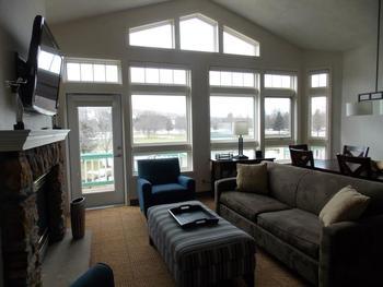 Guest room interior at Fairway Suites.