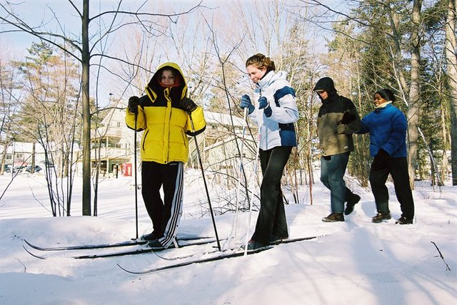 Cross country skiing at Pine Vista Resort.