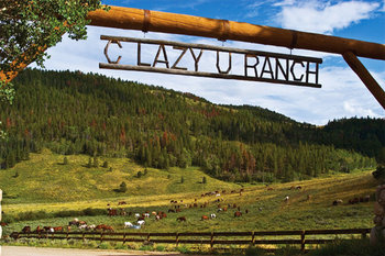Front entrance of C Lazy U Ranch.