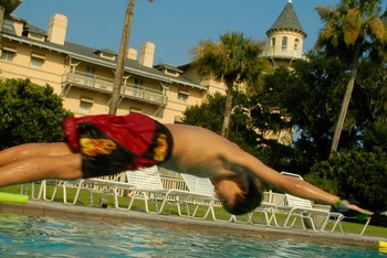 Swimming at Jekyll Island Club Hotel.