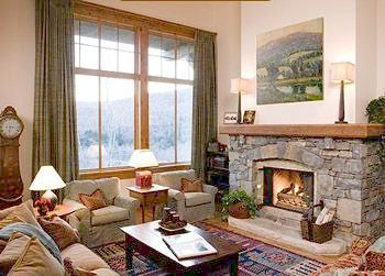 Living room at Stowe Mountain Lodge.