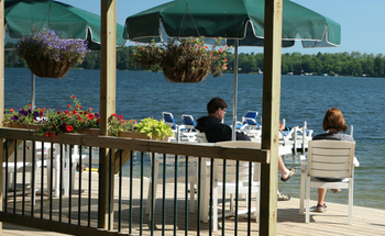 Patio at Broadwater Lodge.