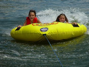 Water tubing at Paradise Cove Marine Resort.