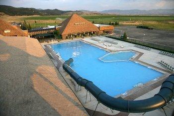 Aerial pool view at Fairmont Hot Springs Resort.