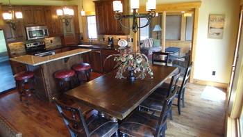Cabin kitchen and dining room at Boyd Lodge.