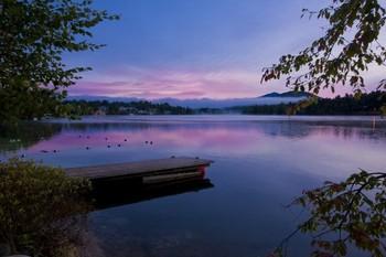 Lake dock view at Golden Arrow Lakeside Resort.