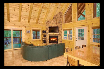 Cabin living room at Hummingbird Hill Cabin Rentals.