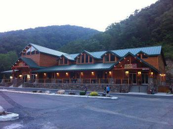 Exterior view of Smoke Hole Caverns & Log Cabin Resort.