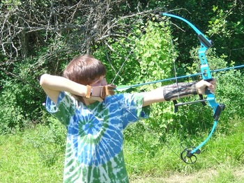 Archery practice at Red Horse Mountain Ranch.