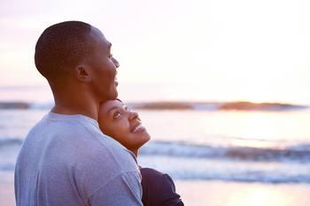 Couple on beach at Landmark Resort.