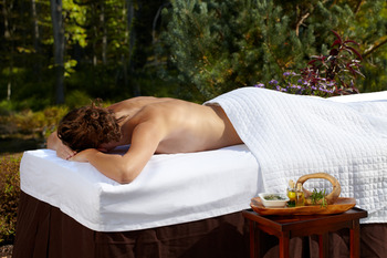 Outdoor massage at The Lodge at Woodloch.