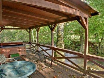 Cabin deck at Georgia Mountain Cabin Rentals.