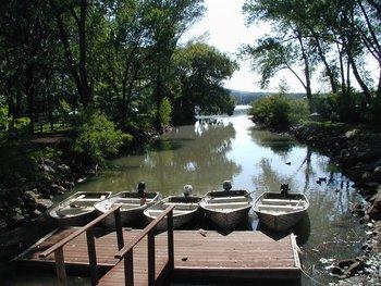 Dock view at Lazy Oaks Resort.