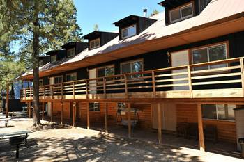 Exterior view of Pinewoods Resort.