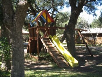 Children's playground at Foxfire Cabins.