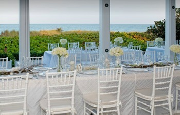 Outdoor wedding reception at The Seagate Hotel & Spa.