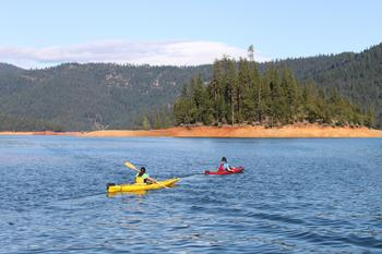 Kayaking at Trinity Lake.