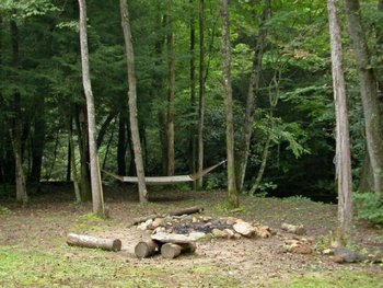 Fire pit and hammock at Georgia Mountain Cabin Rentals.