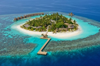 Aerial view of resort at Universal Resorts in the Maldives.