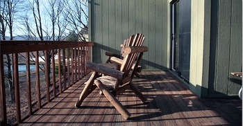 Cabin deck at Black Bear Resort Rentals.