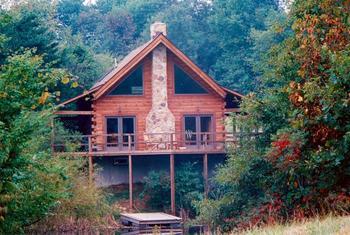 Cabin exterior at Honey Fork Properties.