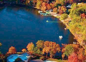 Fall aerial view of lake at Woodloch Resort.