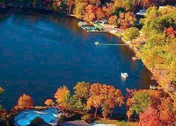 Fall aerial view of lake at Woodloch Resort.