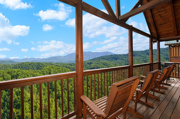 Cabin deck view at SmokyMountains.com.