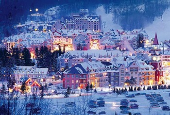 Exterior winter view at Fairmont Tremblant Resort.