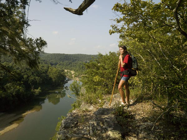 Hiking at Buffalo River Outfitters.