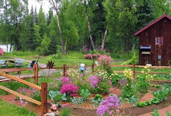 Garden view at The Northwoods Lodge.